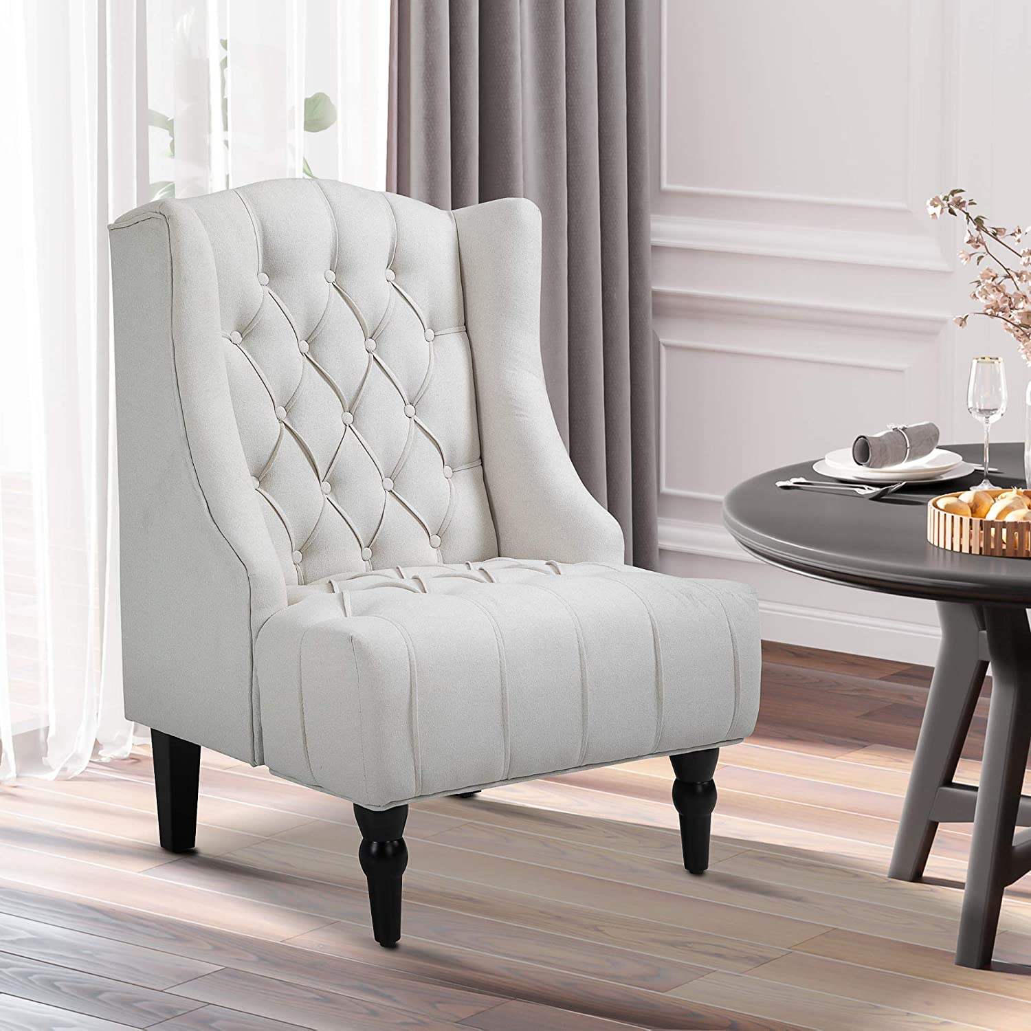 HOMCOM Linen Fabric Button Tufted Wingback Chair