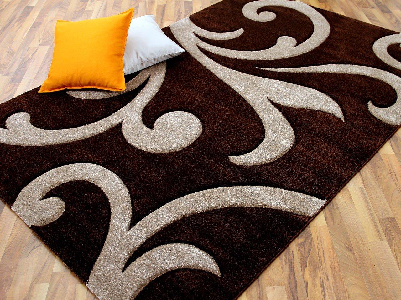 Designer Teppich Modern Maui Braun Ranken in 4 Größen