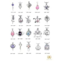CHERRI WAVE 20 Pieces Mixed Shape White Gold Plated Pearl Bead Cages Pendants for Jewelry Making/Essential Oil Scent Diffuser Locket Pendant with Storage Box and Colorful Diffuser Cotton Pom Poms