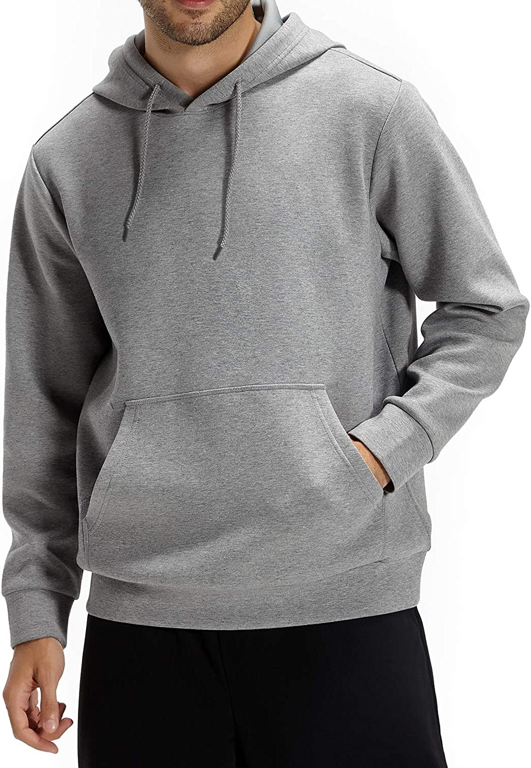 CASEI Solid Hoodies for Men Athletic Pullover Hoodie Lightweight Sweatshirt with Pockets