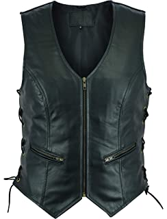 047414d58 Amazon.com: Womens 7 Pocket Naked Leather Motorcycle Vest with Gun ...