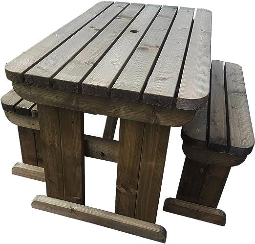 yews compacto redondas de madera asiento de banco de mesa de ...