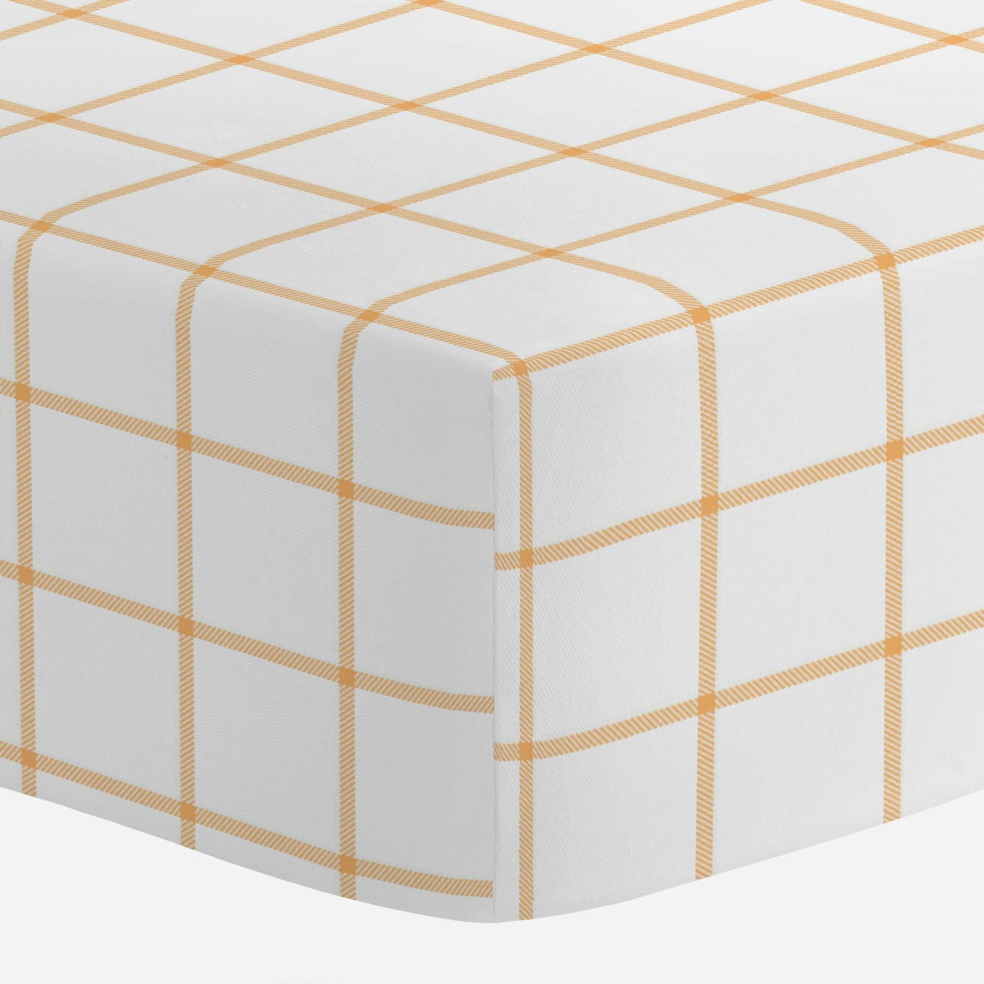 Carousel Designs Light Orange Windowpane Crib Sheet - Organic 100% Cotton Fitted Crib Sheet - Made in The USA