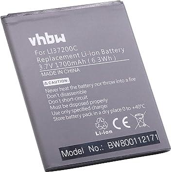 vhbw Li-Ion batería 1700mAh (3.7V) para teléfono móvil Smartphone ...