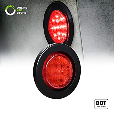 """2.5"""" Round 10 LED Light [2 in 1 Reflector] [Polycarbonate Reflector] [13 LEDs] [D.O.T. Certified] [2 Year Warranty] Side Marker Light for Trucks and Trailers - Red: Automotive"""