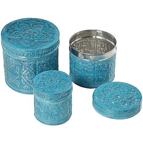 DonRegaloWeb - Set de 3 cajas redondas caladas de latón en color azul