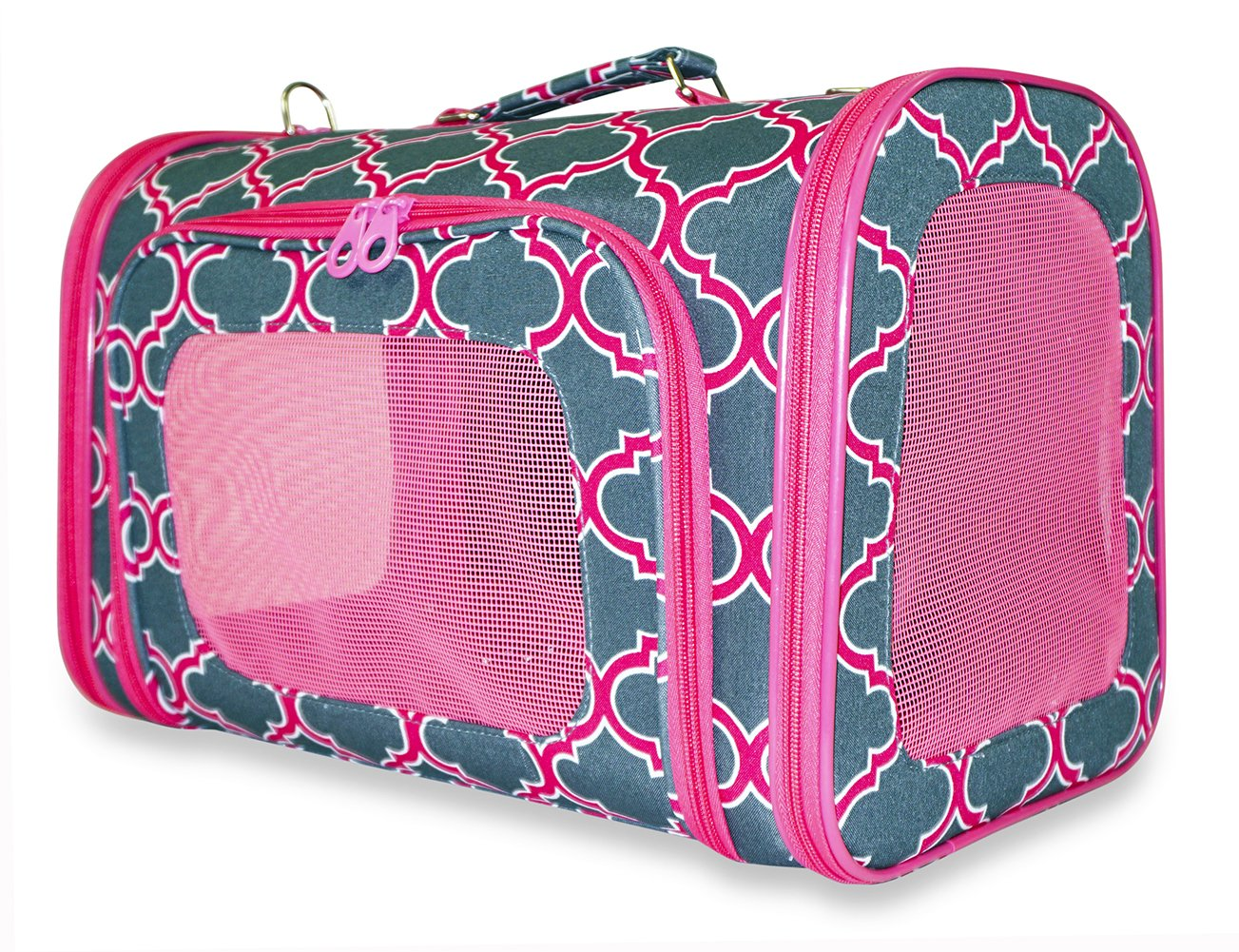 Ever Moda 18-Inch Pet Carrier Purse, Moroccan (Pink Grey)