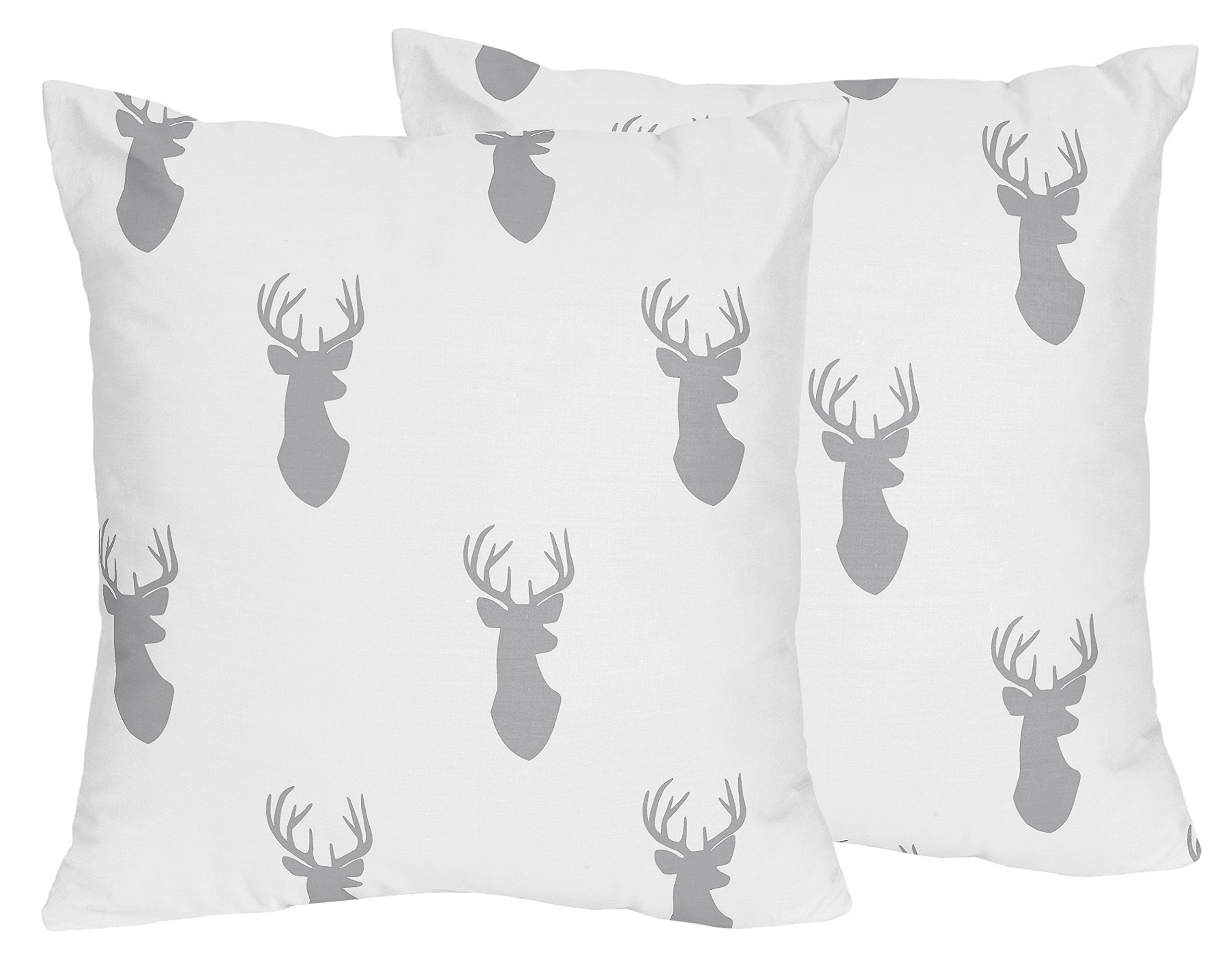 Sweet Jojo Designs 2-Piece Grey and White Woodland Deer Decorative Accent Throw Pillows by Sweet Jojo Designs