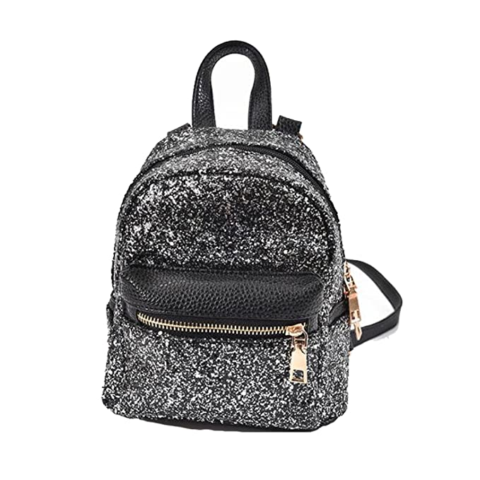 Girls Bling Mini Travel Backpack Kids Children School Bags Satchel Purses  Daypack (black)