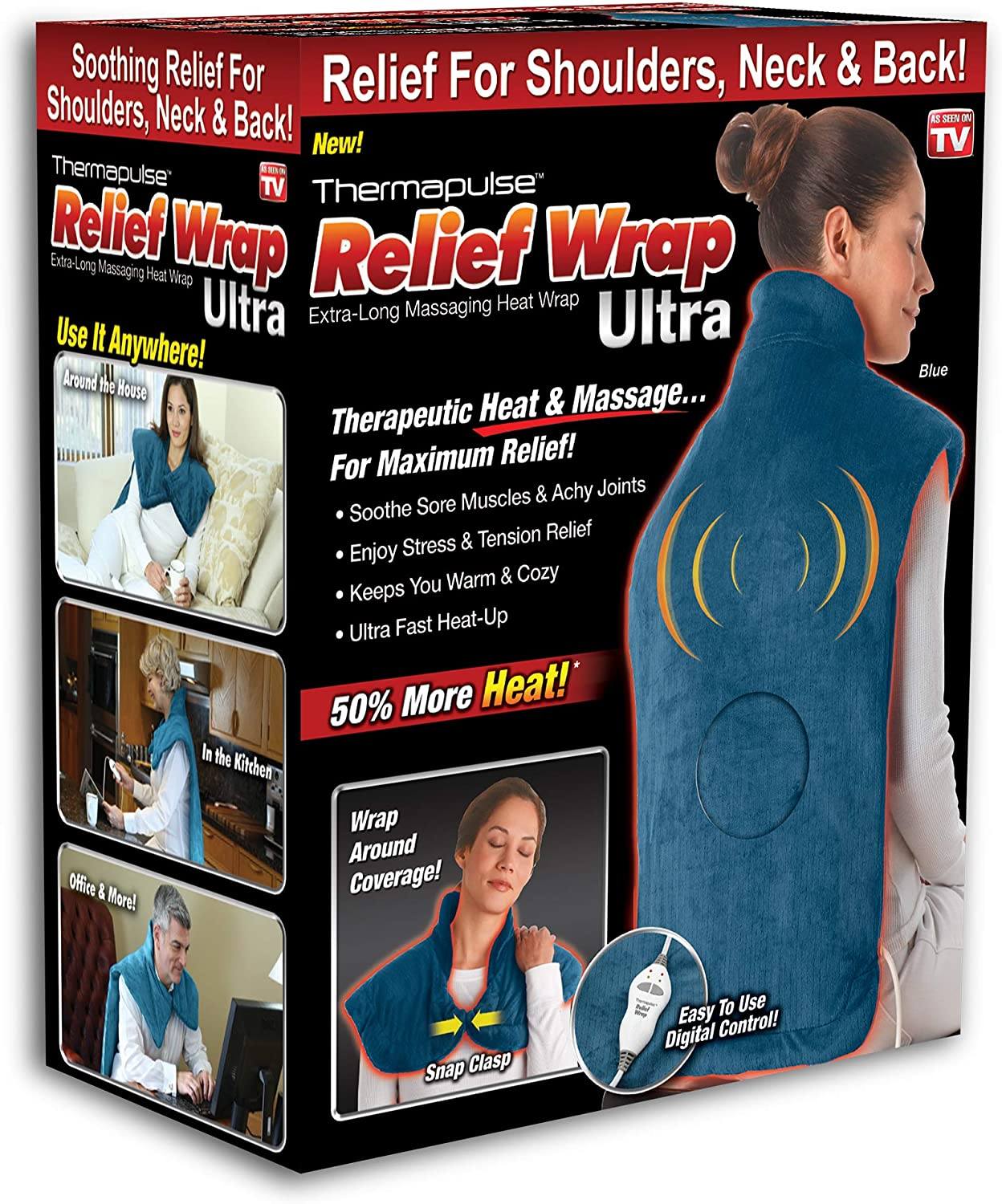 Ontel Thermapulse Relief Wrap Ultra Extra-Long Massaging Heat Wrap