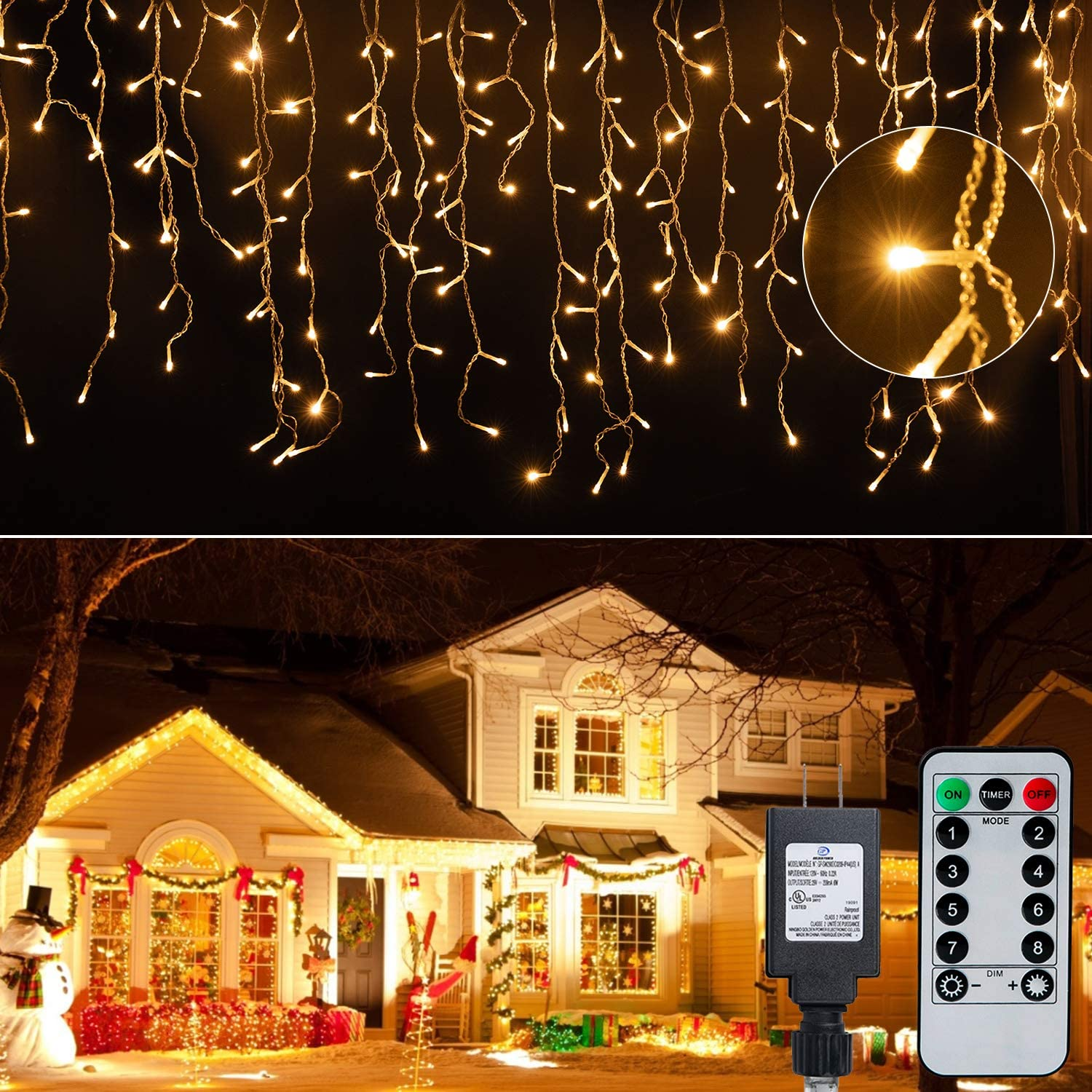 Icicle Lights Christmas Lights Outdoor, 19.6 Feet 306 Led Twinkle Curtain String Lights, with Remote Timing Waterproof Hanging Light for Patio Tree Indoor Christmas Decorations Outside, Warm White