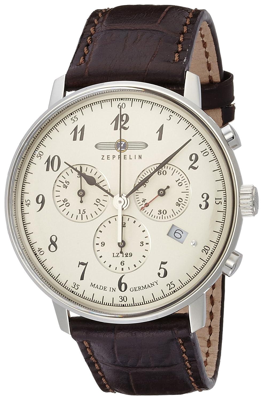 [ツェッペリン]ZEPPELIN 腕時計 ヒンデンブルク ホワイト文字盤 クロノグラフ デイト 70864 メンズ 【正規輸入品】 B00QM4PR4C