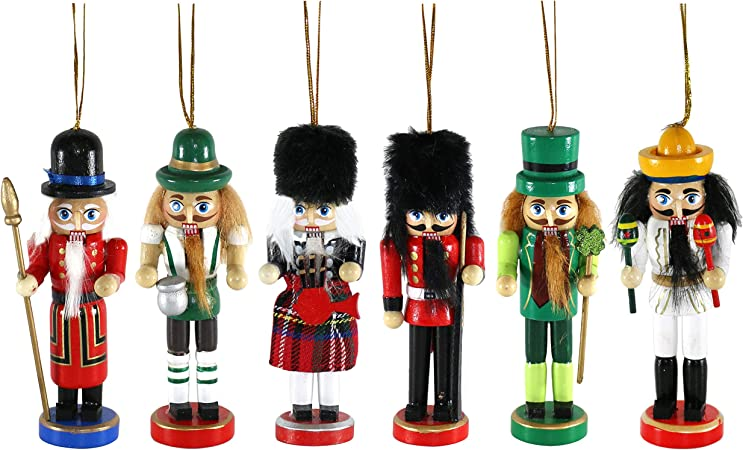by Robelli Pack of 11 Large Wooden Nationality Christmas Tree Nutcracker  Decorations