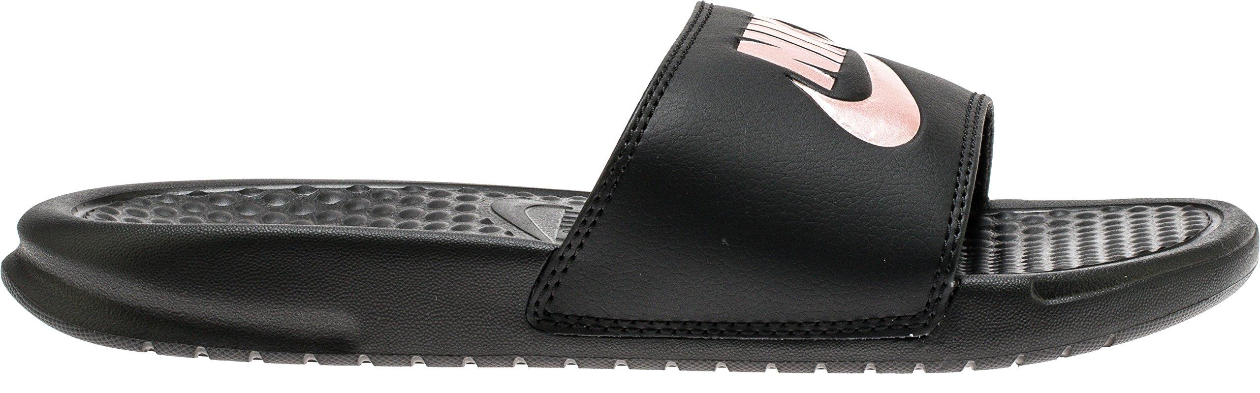 NIKE Women's Benassi Just Do It Slide Sandal, Black/Rose Gold, 7 Regular US