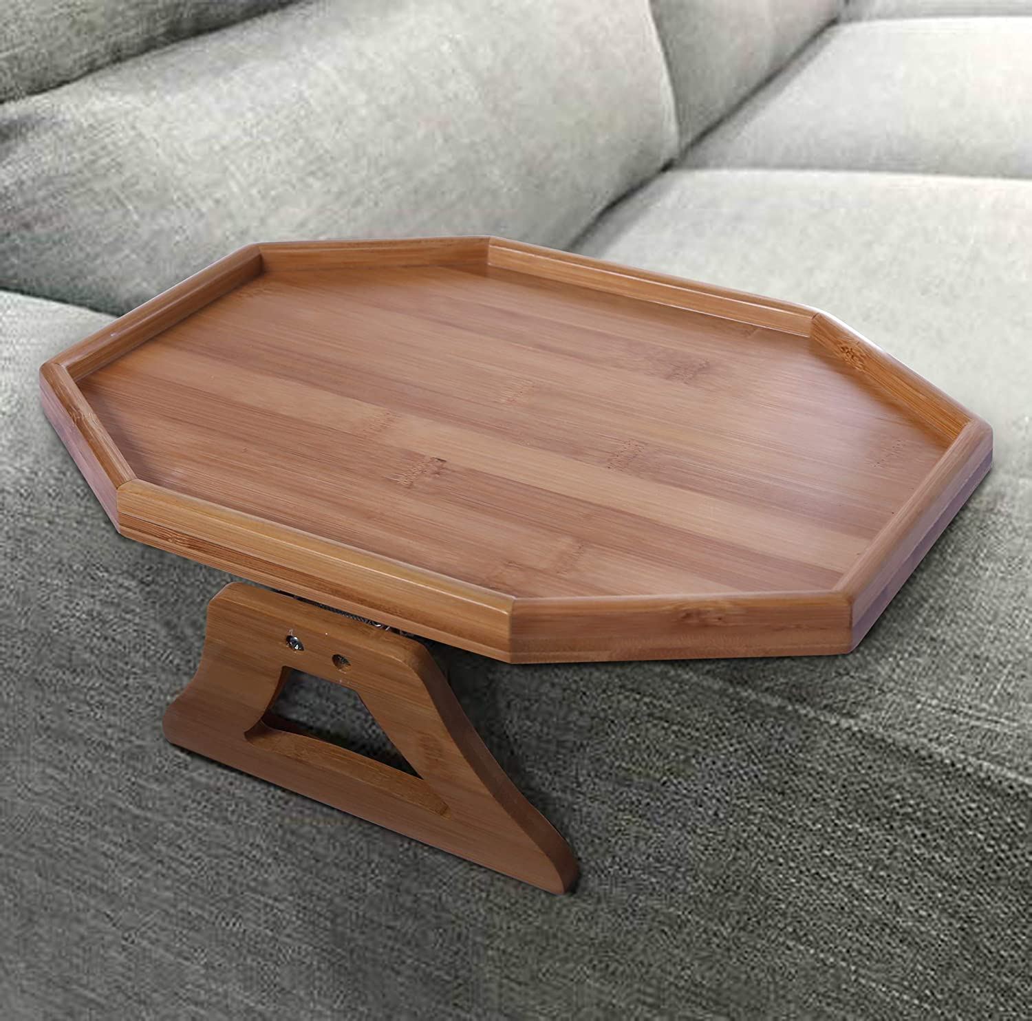 Natural Bamboo Sofa Armrest Clip-On Table, Ideal for Remote/Drinks/Phone