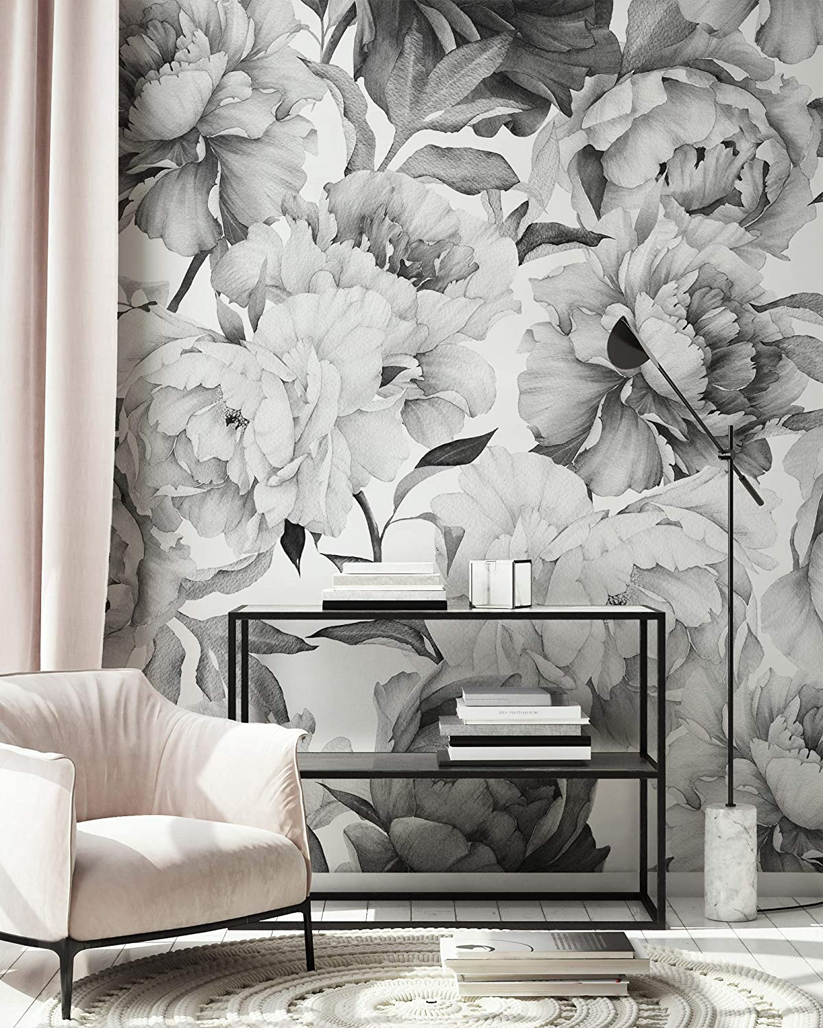 Amazon Com Murwall Dark Floral Wallpaper Charcoal Flower Wall