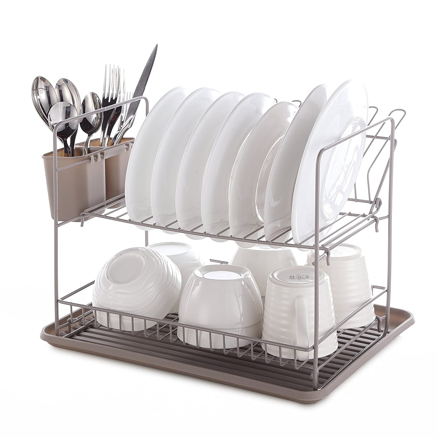 Mari Chef - Warm Grey 2 Tier Folding Dish Rack Drainer and Drip Tray