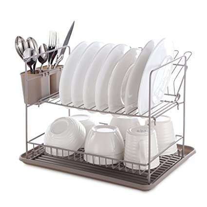 Mari Chef Warm Grey 2 Tier Folding Dish Rack Drainer And Drip