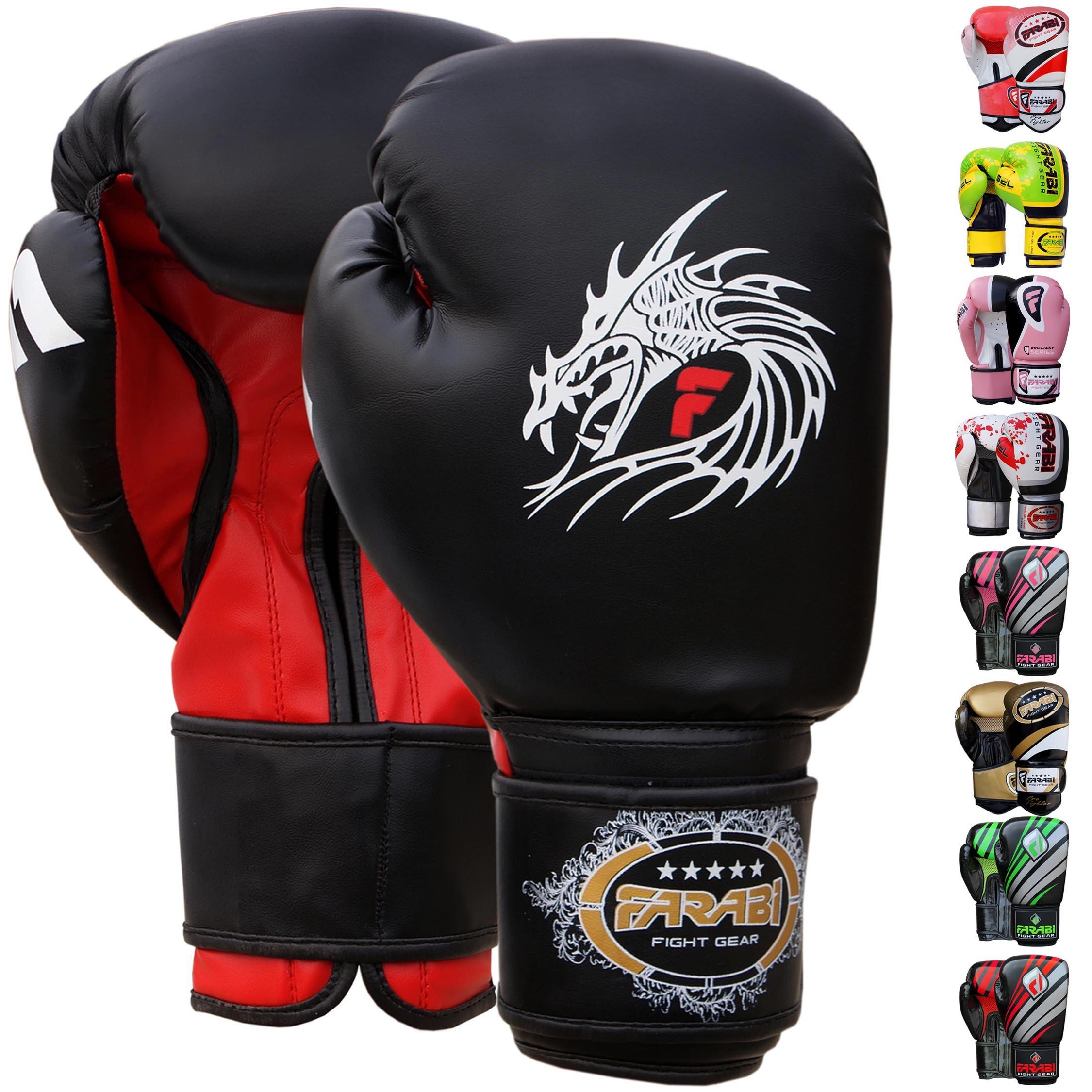 Kit of 2 Black Bear Paw Gloves For Boxing Fighting Boxing MMA Muay Thai Karate E