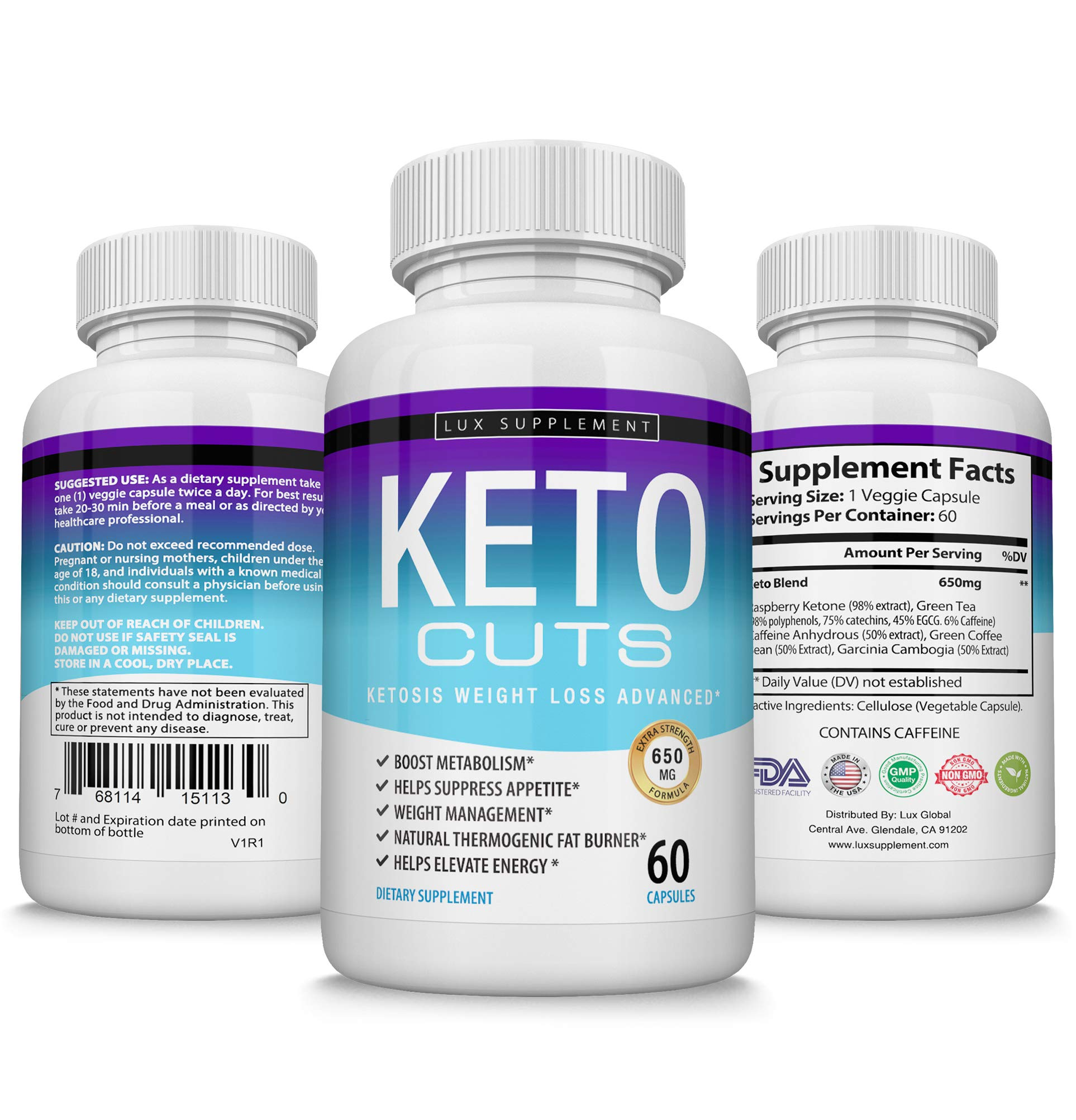 Keto Cuts Pills Ketosis Weight Loss Advanced - Best Ultra Fat Burner Using Ketone and Ketogenic Diet, Boost Metabolism and Energy While Burning Fat, Men Women, 60 Capsules Lux Supplement by Lux Supplement (Image #5)