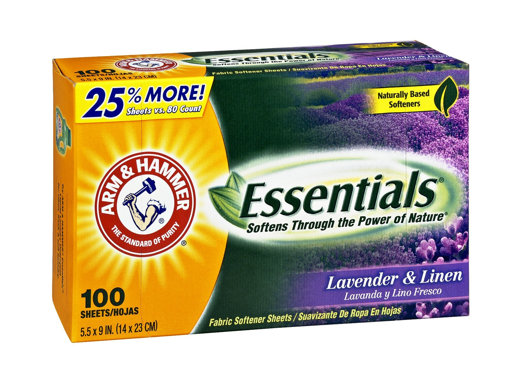 Arm & Hammer Essentials Lavender & Linen Fabric Softener Sheets, 100 CT (Pack of 6)