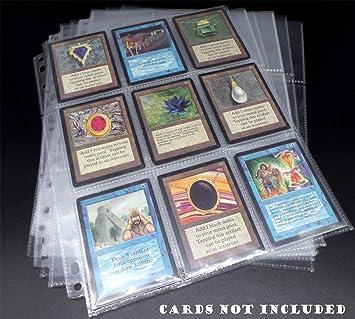 docsmagic.de 10 Premium 9-Pocket Pages - 11-Hole - 3-Ring Album- MTG - YGO - PKM - Juego de Fundas para Cartas para Jugar y coleccionar - Hojas de 9 Bolsillos: Amazon.es: Juguetes y juegos
