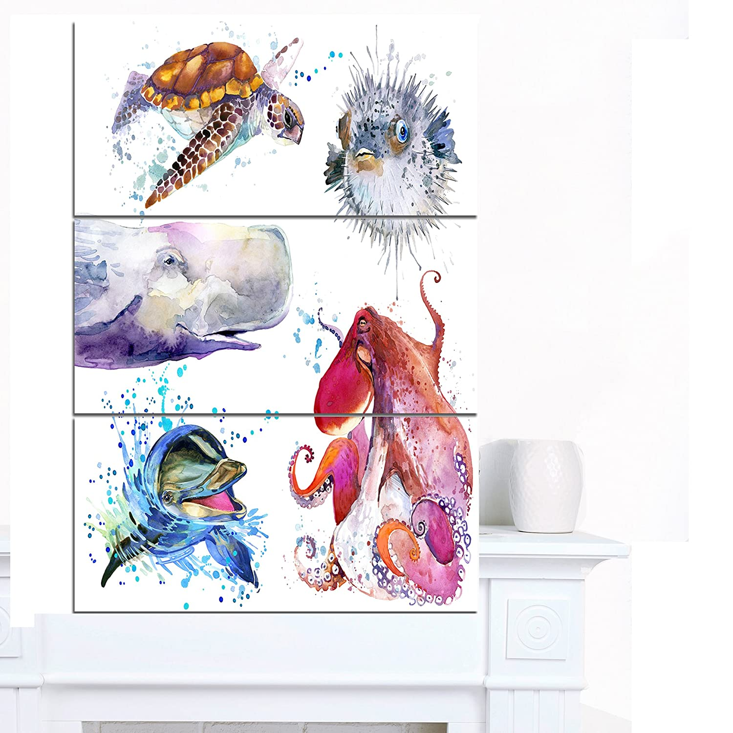 CDM product Designart PT13255-3PV Amazing Undersea Life Collage Contemporary Animal Art Canvas, 28x36 small thumbnail image