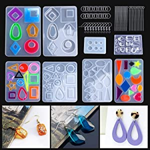 3 Pairs Earring Resin Molds with 2pcs Stud Earring Jewelry Epoxy Resin Silicone Molds Including Earring Hooks Sweepstakes
