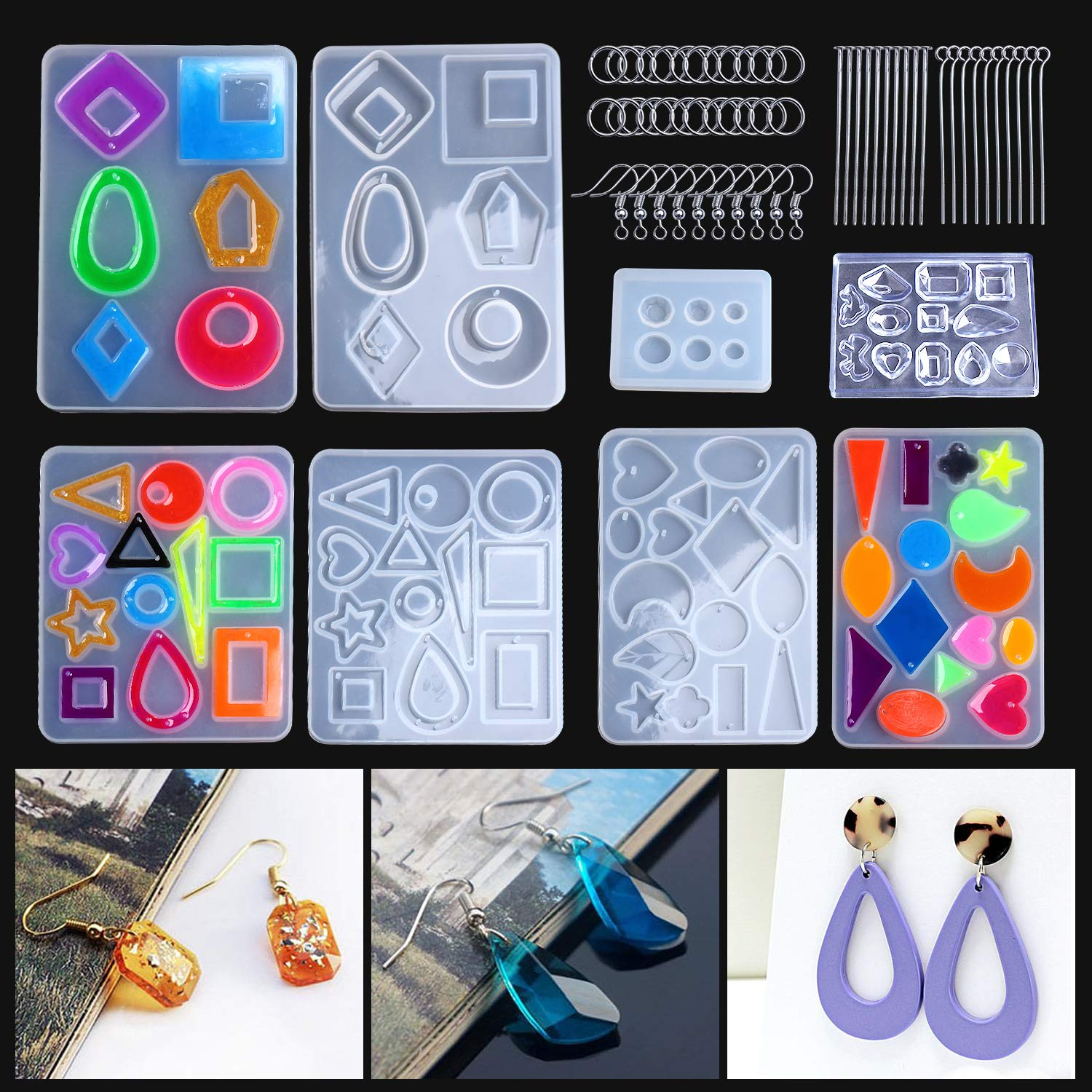 3 Pairs Earring Resin Molds with 2pcs Stud Earring Jewelry Epoxy Resin Silicone Molds Including Earring Hooks, Jump Rings, Head/Eye Pins for Resin Jewelry, Pendant Crafting, Resin Crafts DIY by LET'S RESIN