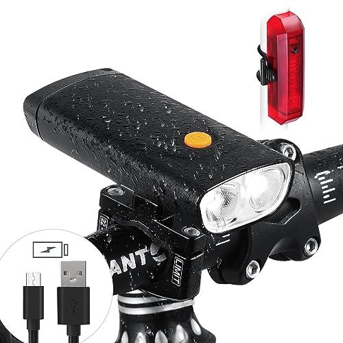 Ensemble de lumière de vélo, 1000Lumen CREE L2double Phare vélo à LED avec fonction de sortie USB, 5000mAh USB batterie rechargeable, IPX6étanche, éclairage ar