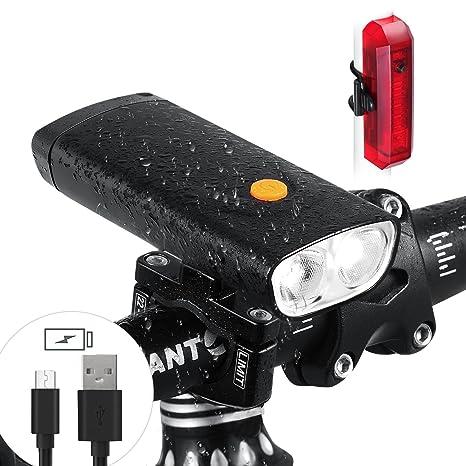 Juego de luces para bicicleta, aluminio, 1000 lúmenes, 2 LED, con ...