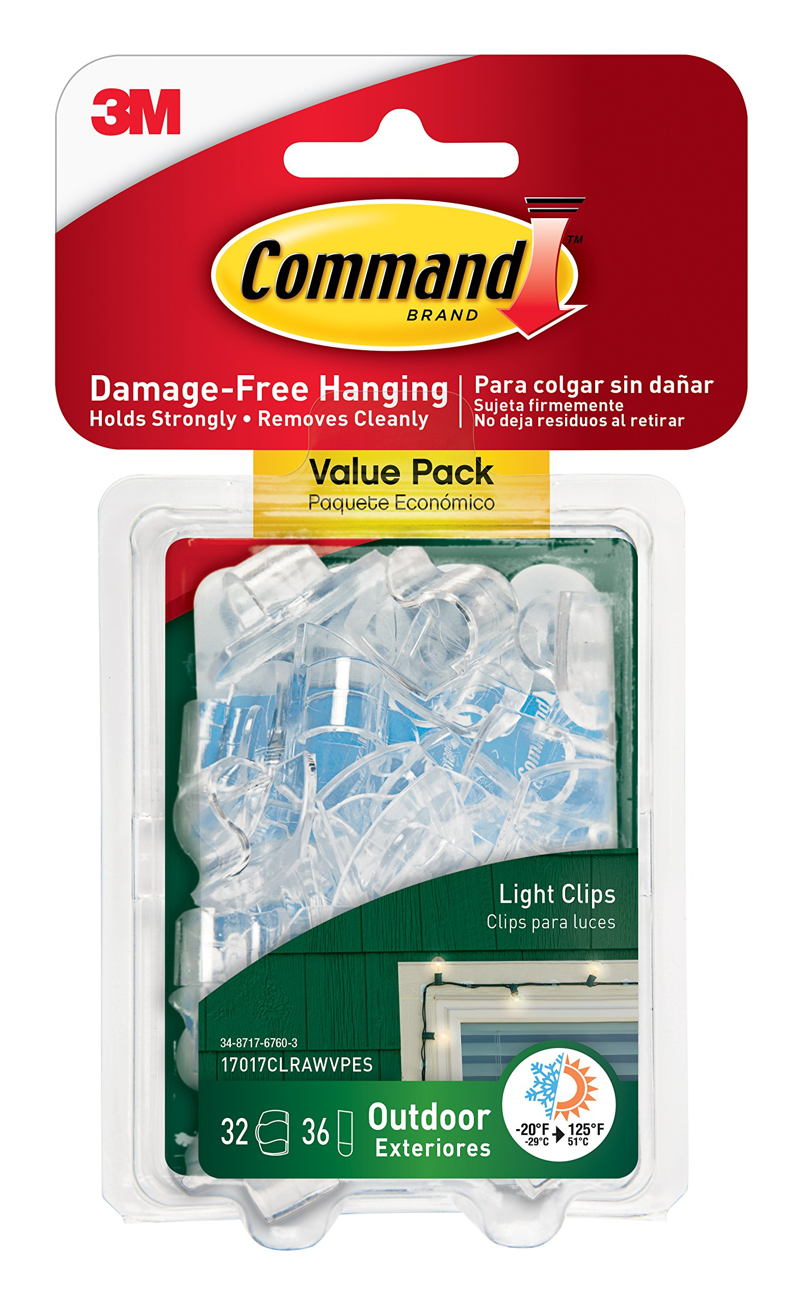 Command Outdoor Light Clips Value Pack, Clear, 32-Clips (17017CLRAWVPES)