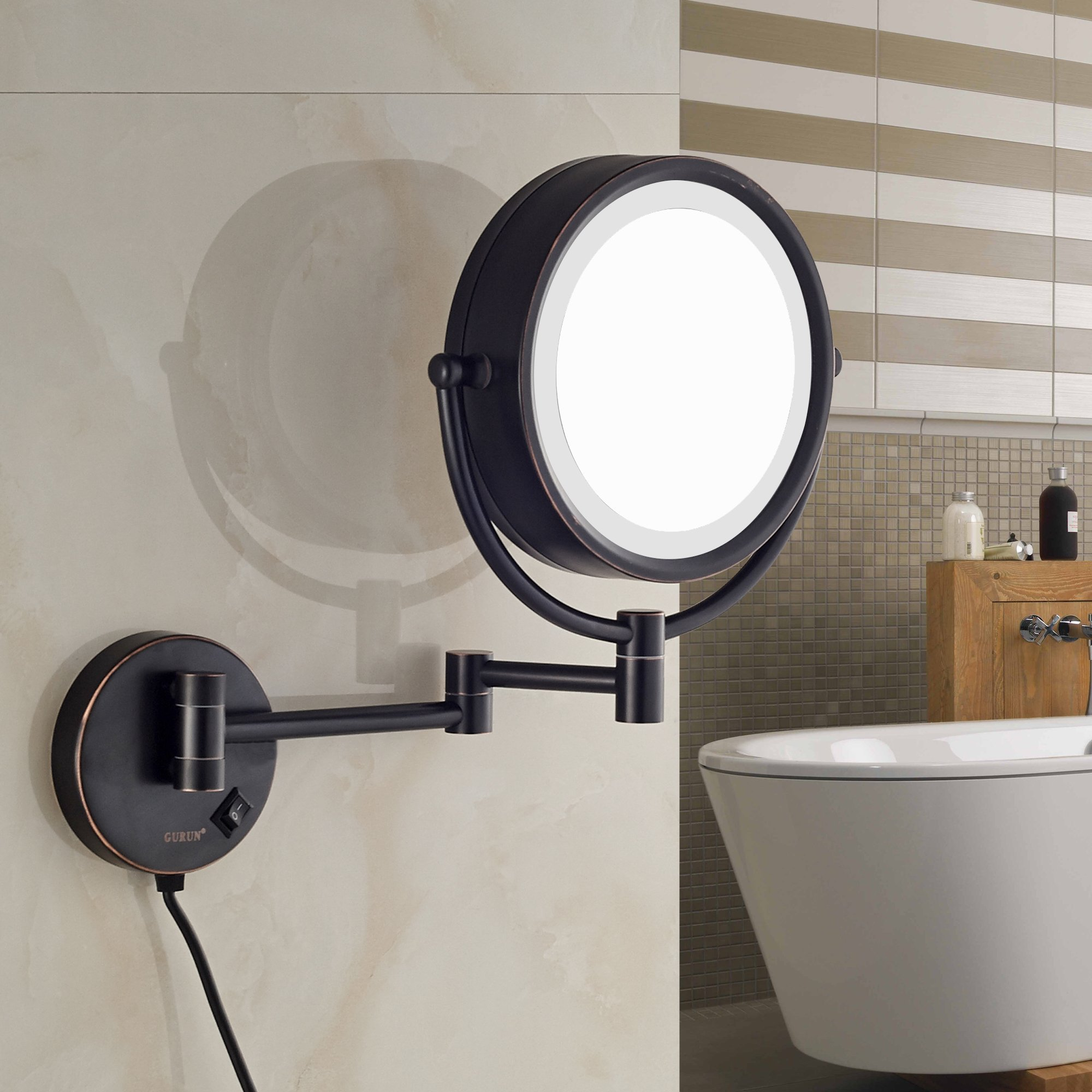 GURUN LED Lighted Wall Mount Makeup Mirror with 10x Magnification,Oil-Rubbed Bronze Finish, 8.5 Inch, BRASS,M1809DO(8.5in,10x) by GURUN (Image #5)