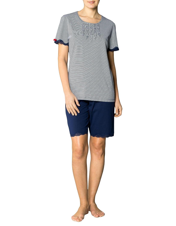 Keine Verkaufssteuer einzigartiger Stil ziemlich cool Seidensticker Damen Pyjama Baum Wolle Schlafanzug Gestreift ...