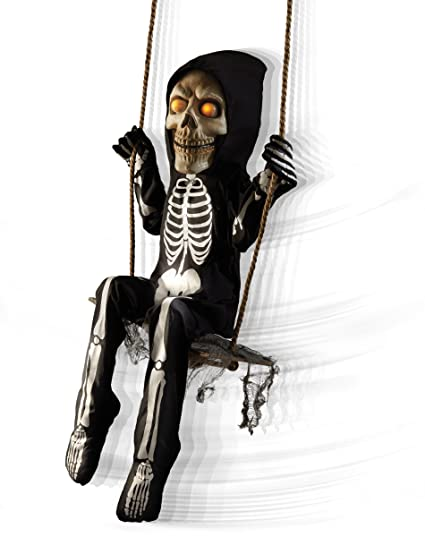 spirit halloween 3 ft swinging skeleton boy animatronics decorations