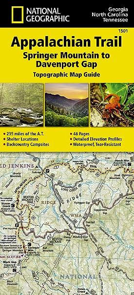 Appalachian Trail In Georgia Map.Amazon Com Appalachian Trail Springer Mountain To Davenport Gap