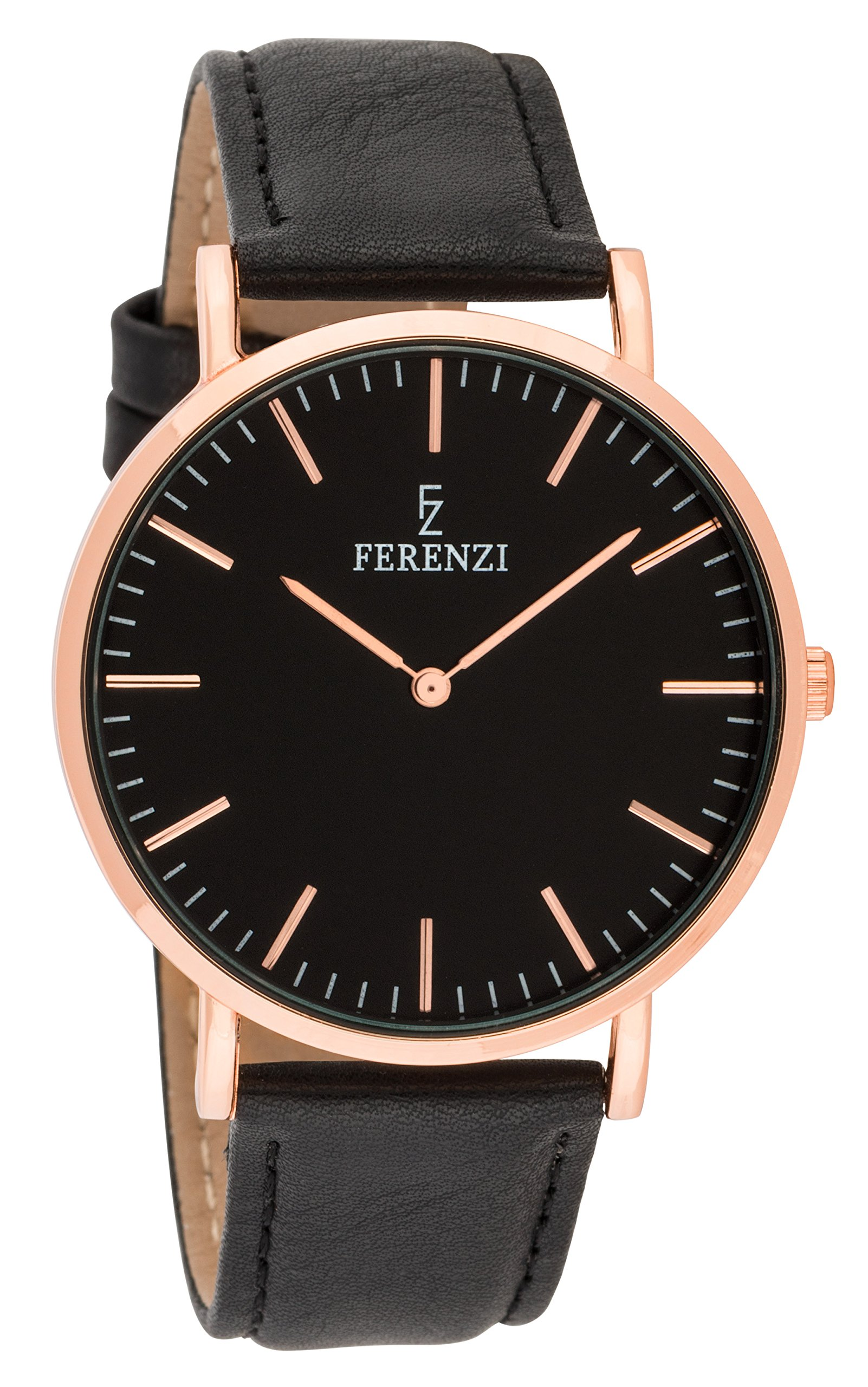 Ferenzi Unisex - FZ18602 - Classic Rose Gold-Tone and Black on Black Leather Watch