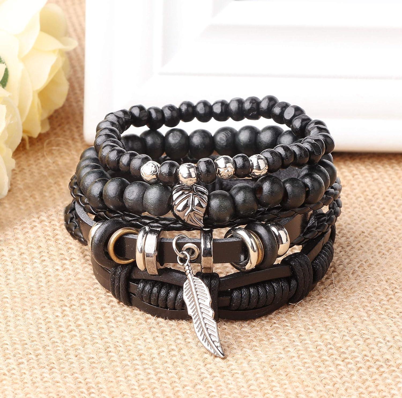 Besteel 26 Pcs Braided Leather Bracelet for Men Women Cuff Wrap Link Bead Bracelet Adjustable