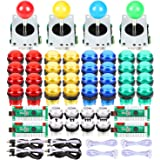 EG Starts 4 Player Classic DIY Arcade Joystick Kit Parts USB Encoder To PC Controls Games + 4/8 Way Stick + 5V led…