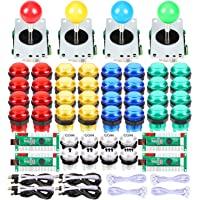 EG Starts 4 Player Classic DIY Arcade Joystick Kit Parts USB Encoder To PC Controls Games + 4/8 Way Stick + 5V led…