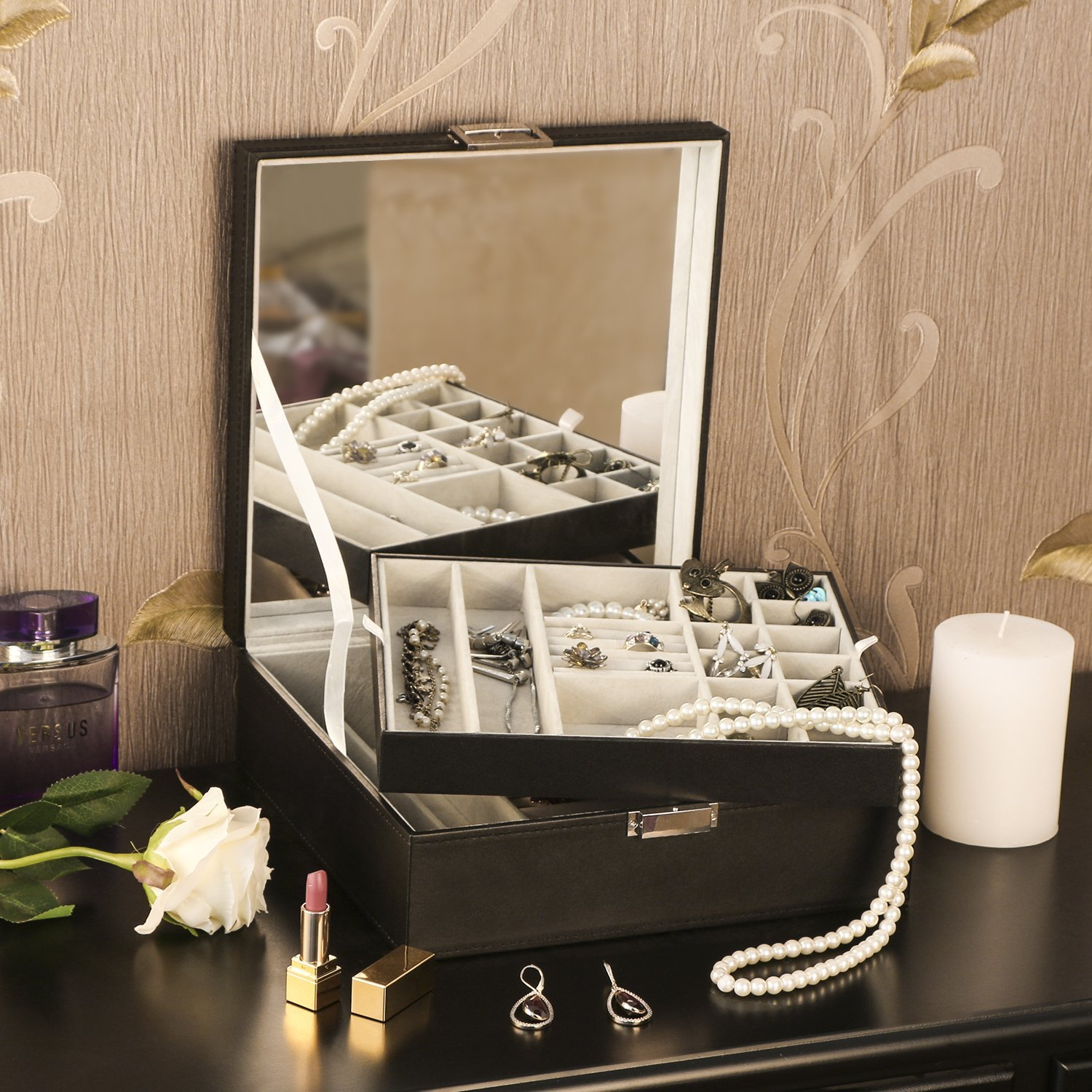 Jewelry Box Organizer 40 Section Display Tray Storage Case Drawer 2 Layers Large Mirror Girls Teens Women Holder for Earring Ring Necklace Bracelet PU Leather Black SSH01B BEWISHOME