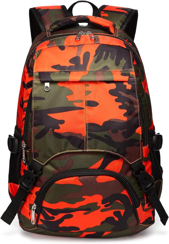 Kids Backpack for Boys Girls Primary School Bags Bookbags for Children (Camouflage Orange)