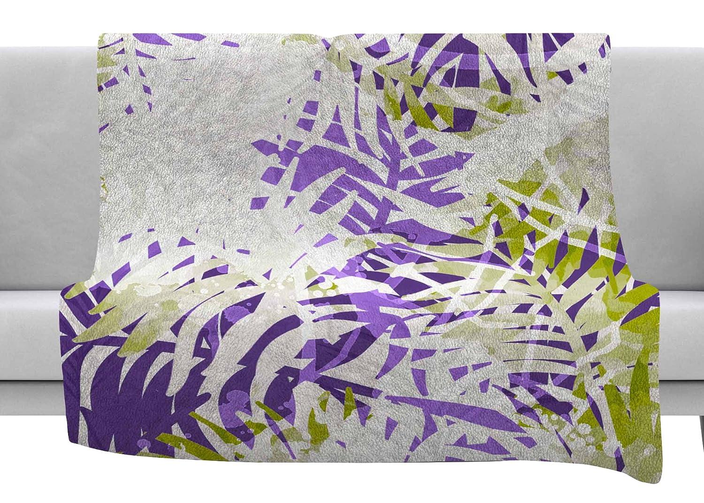 Kess InHouse Mmartabc Leaves Purple Olive Vector Throw 80 x 60 Fleece Blanket
