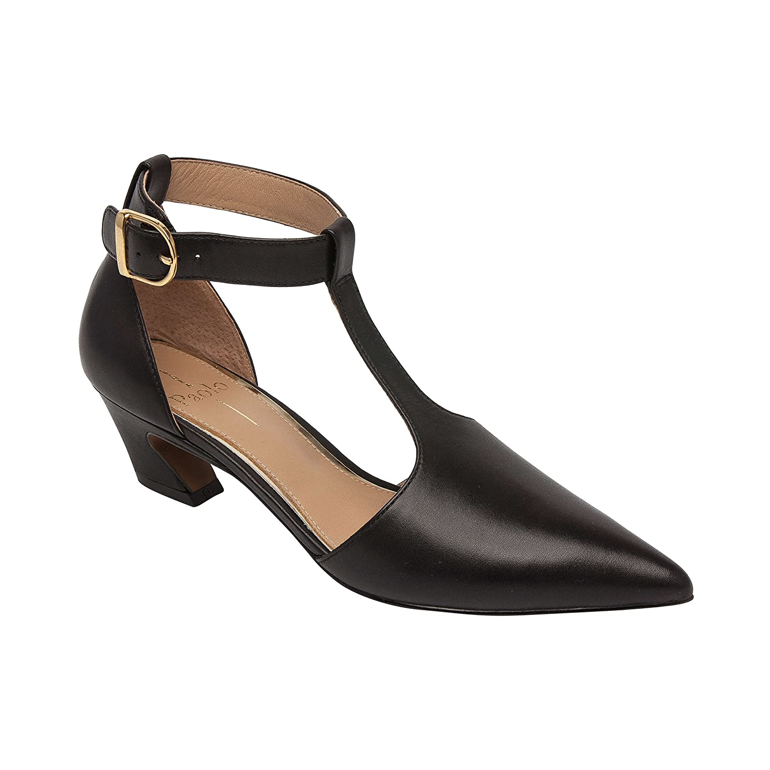 Greta | Pointy Toe T Strap Low Cuban Heel Leather or Suede Buckled Ankle Strap Pump (New Fall)