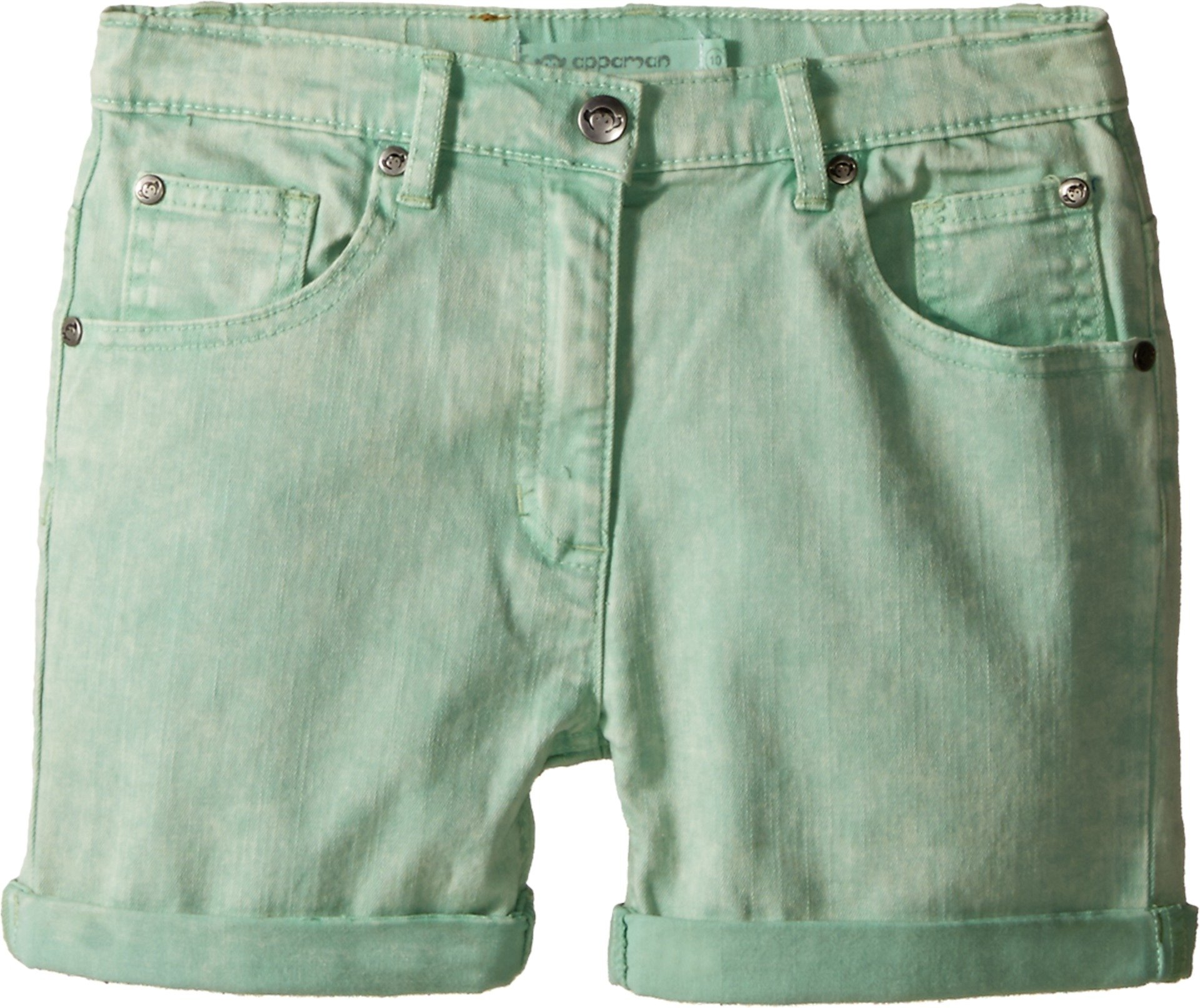 Appaman Kids Baby Girl's Super Soft Roll Cuff York Chalk Denim Shorts (Toddler/Little Kids/Big Kids) Pastel Green Shorts
