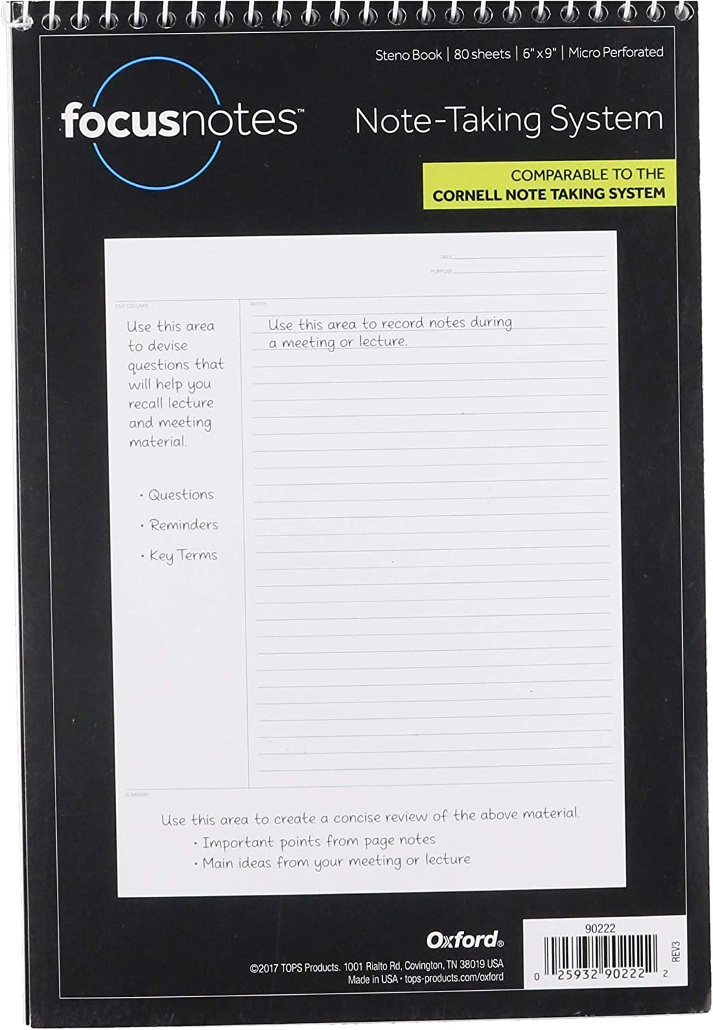 Pendaflex Tops Innovative Steno Project Ruled Notebook (TOPS), 90222, White