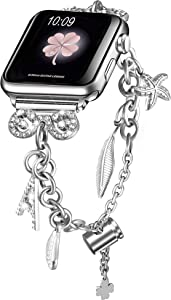 Secbolt Bling Bands Compatible with Apple Watch Bands 38mm 40mm iWatch SE Series 6/5/4/3/2/1, Women's Multi-Charm Adjustable Bracelet in Stainless Steel, Silver