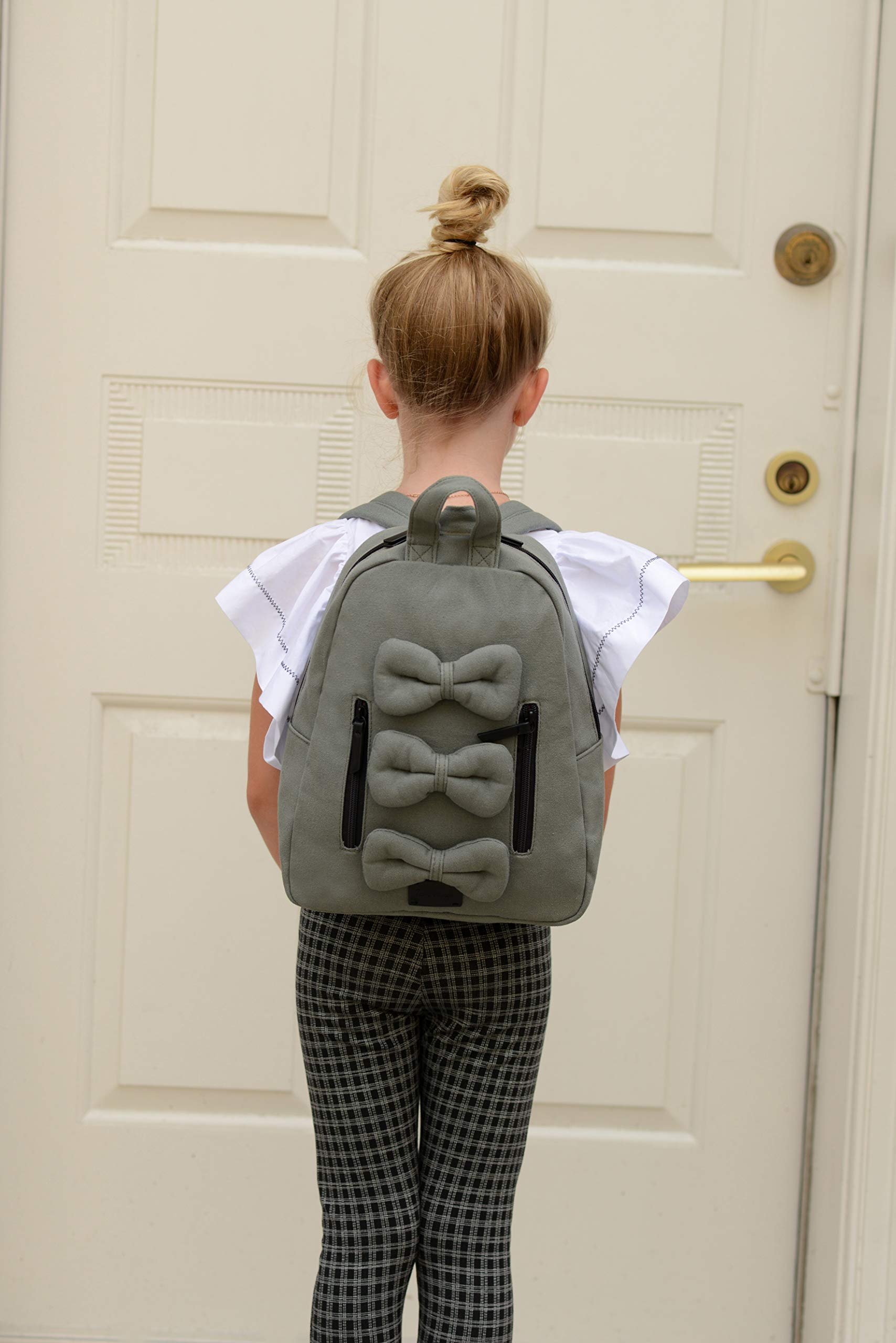 7AM Voyage Mini Bows Cotton Backpack, Toddlers, Kids and Teens School Backpack (Shadow) by 7AM Voyage (Image #2)