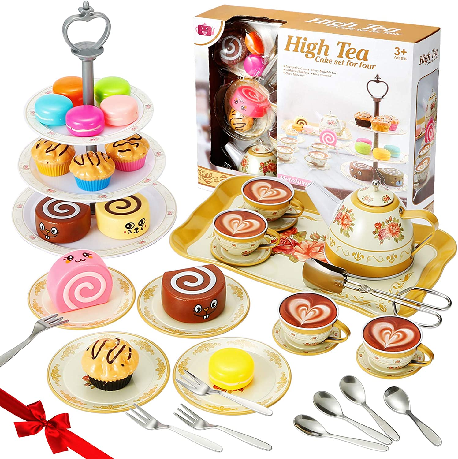 Tea Party Set for Little Girls,Kitchen Pretend Play Toys Tea Set,Princess Play Tea Time With Plastic Tea Cup Dishes,Cake Set Stand,Play Food Set for Toddlers Kids,Child,Play Kitchen Accessories(43PC)