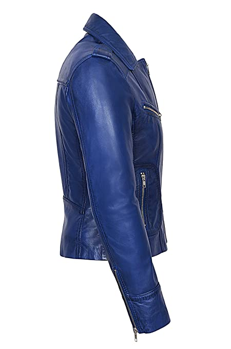 Amazon.com: Rider Ladies Blue Washed Biker Motorcycle Style Soft Real Napa Leather Jacket 9823: Clothing